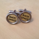 Back Space Yellow Typewriter Key Cufflinks