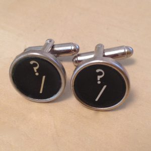 Black Question Mark Typewriter Key Cufflinks