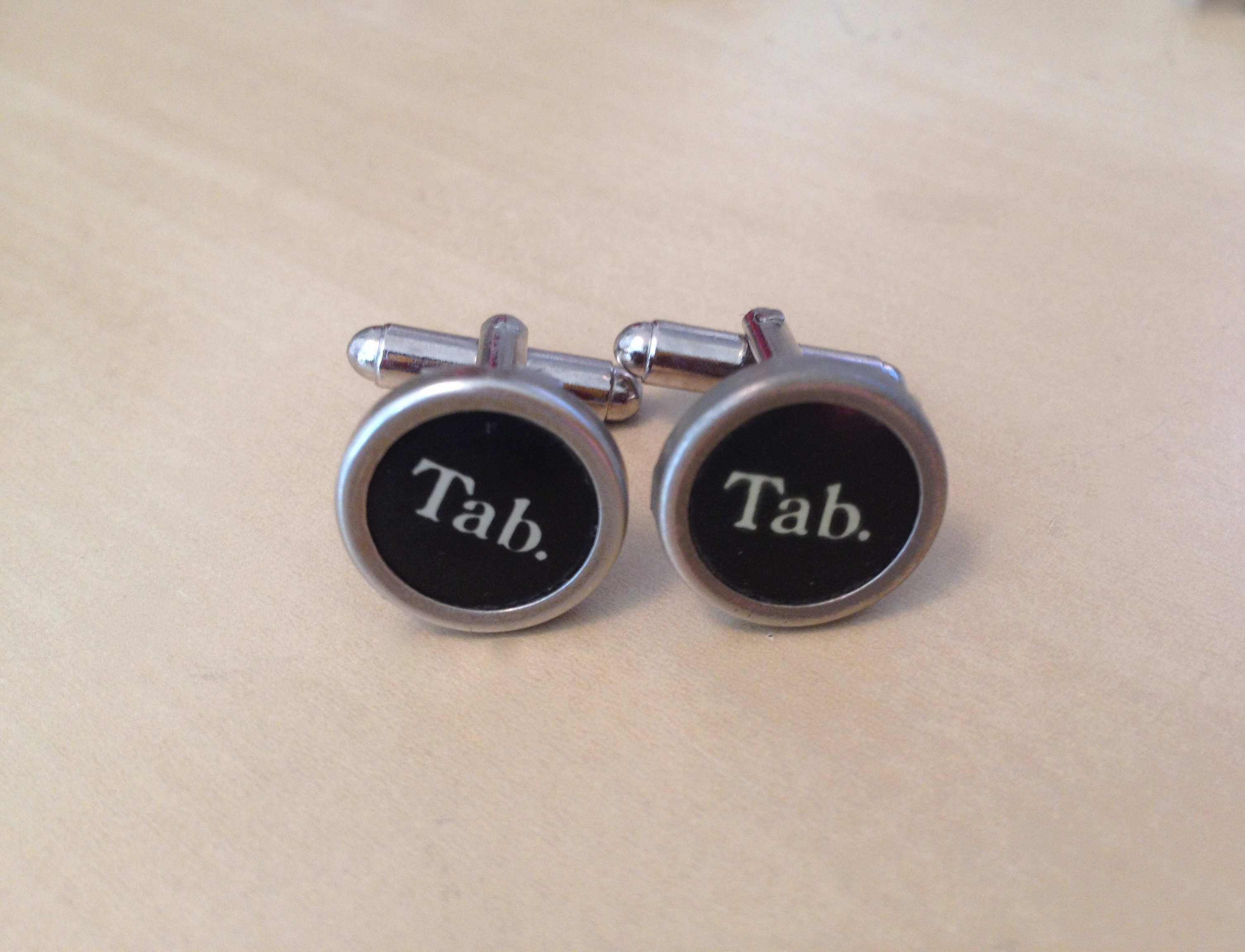 Black Tab Typewriter Key Cufflinks