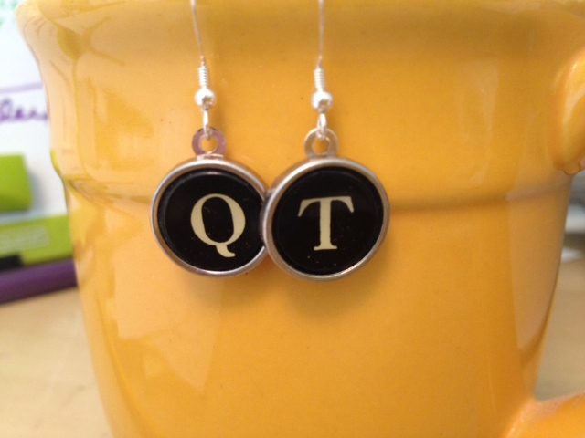 Custom Typewriter Key Earrings