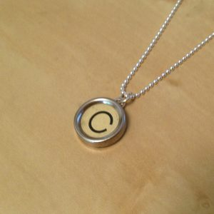 Letter C Green Typewriter Key Necklace