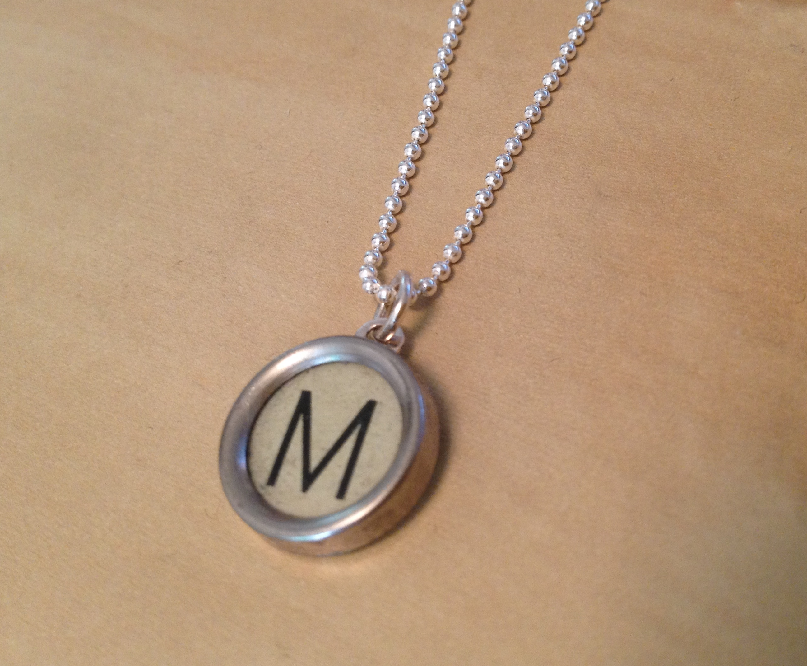 Light Green M Typewriter Necklace
