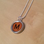 Orange Letter M Typewriter Necklace