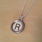 White Letter R Typewriter Necklace
